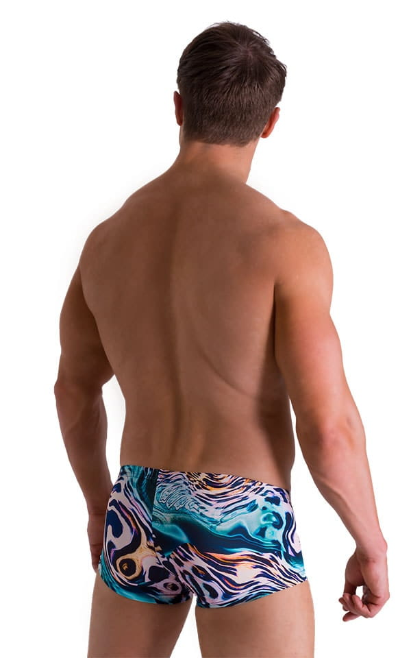 Extreme Low Square Cut Swim Trunks in Swimming Leopard 2