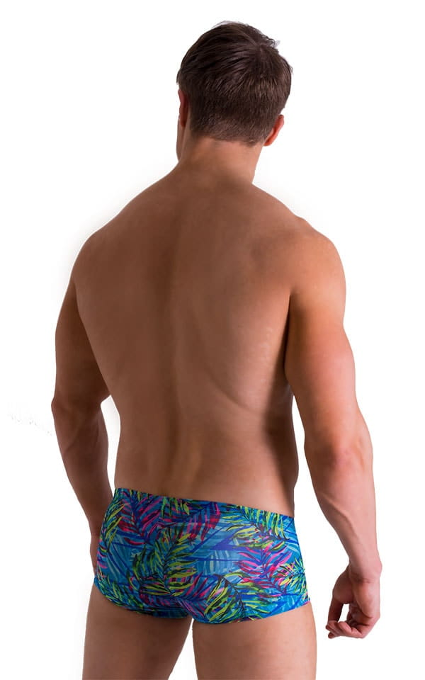 Extreme Low Square Cut Swim Trunks in Tan Through Neon Ferns 2