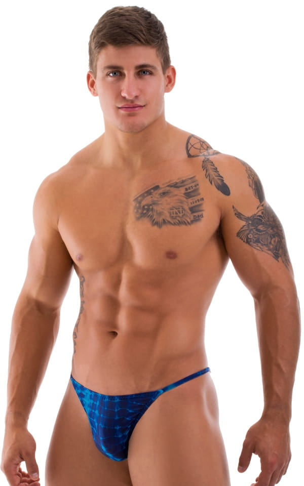 semi sheer mens swimsuit blue