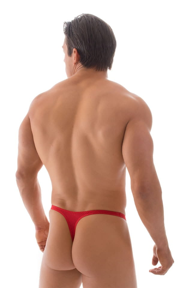 T Back Thong Swimsuit - Bravura Pouch in ThinSKINZ Lipstick Red 3