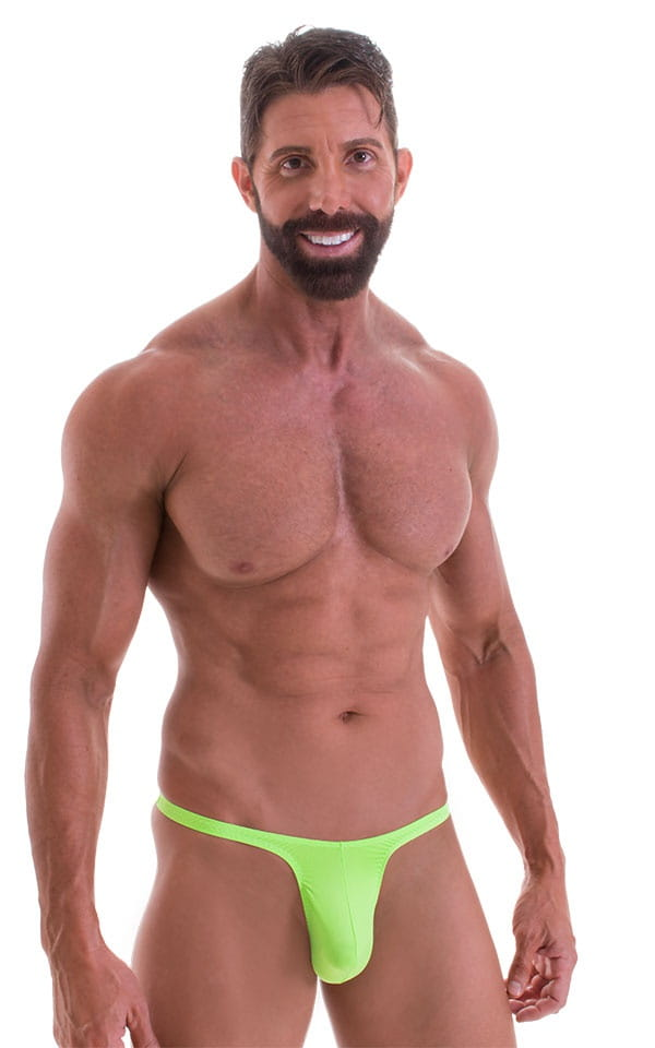 T Back Thong Swimsuit - Bravura Pouch in ThinSKINZ Neon Lime 1