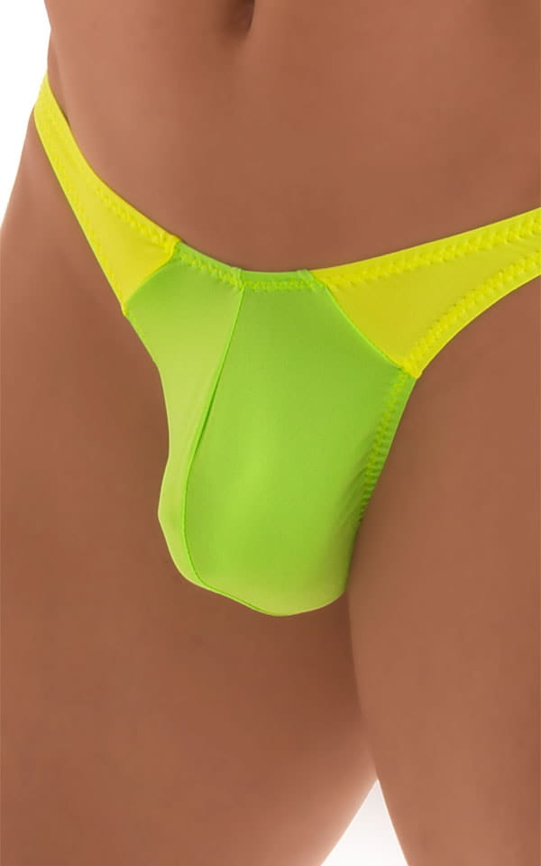 Color Blocked T Back Thong Swimsuit in ThinSKINZ Neon Lime and Chartreuse 4