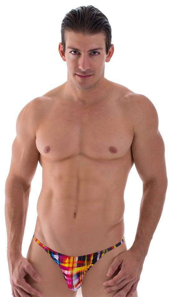 Super Low Brazilian Bikini in Semi Sheer ThinSKINZ Optic Plaid 1