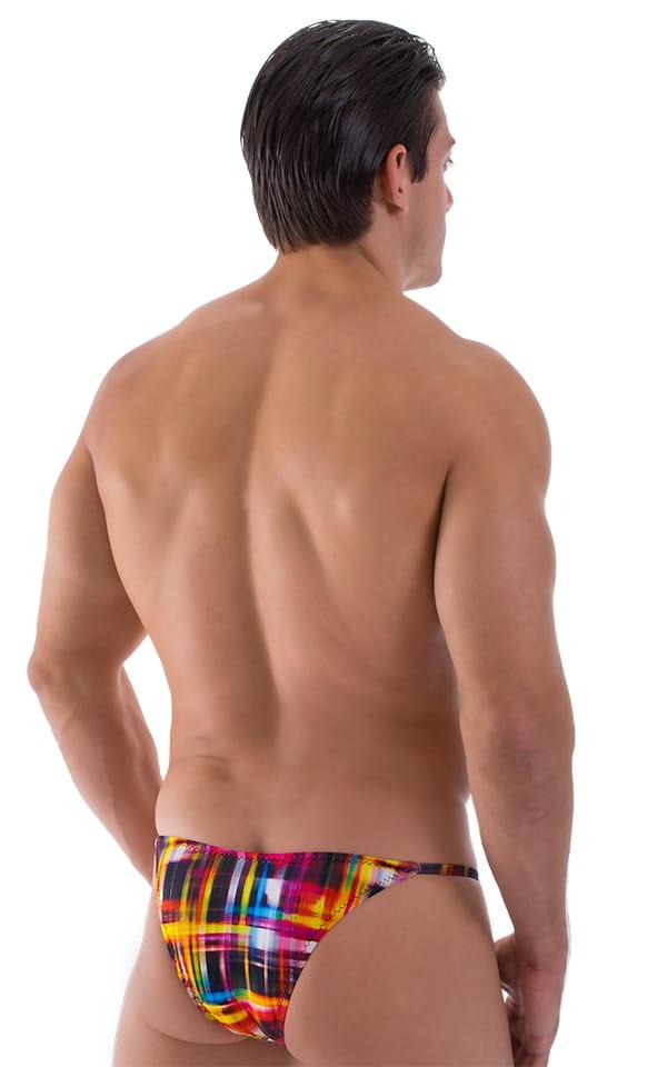 Super Low Brazilian Bikini in Semi Sheer ThinSKINZ Optic Plaid 3