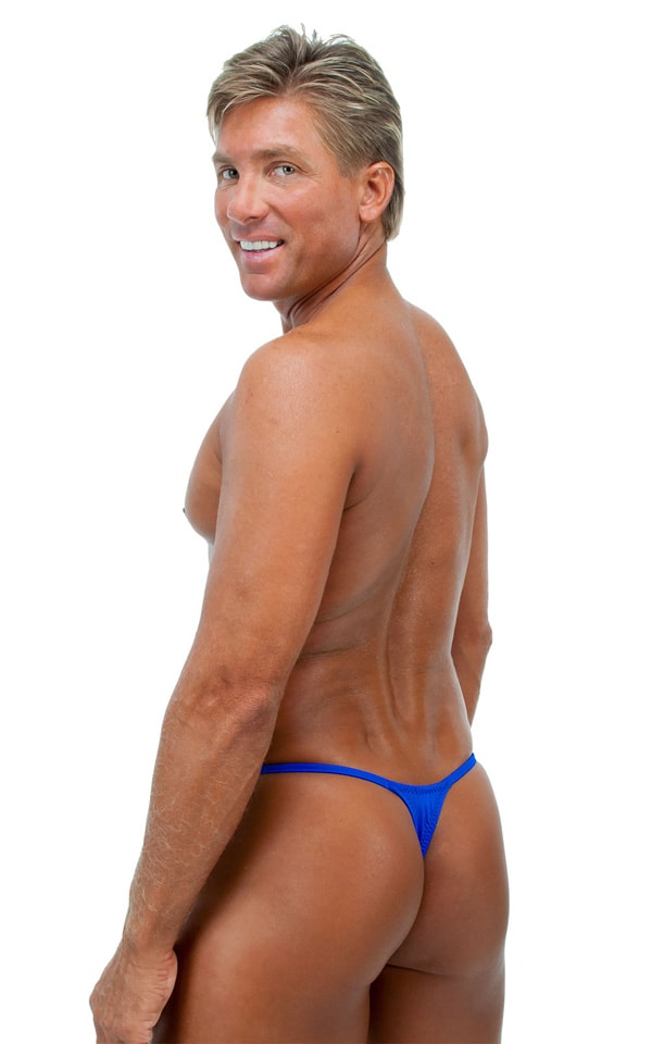 Smooth Pouch Skinny Sides Swim Thong in Wet Look Royal Blue 3