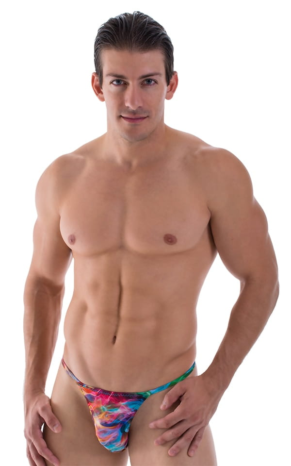 Smooth Pouch Skinny Sides Swim Thong in Vapors 1