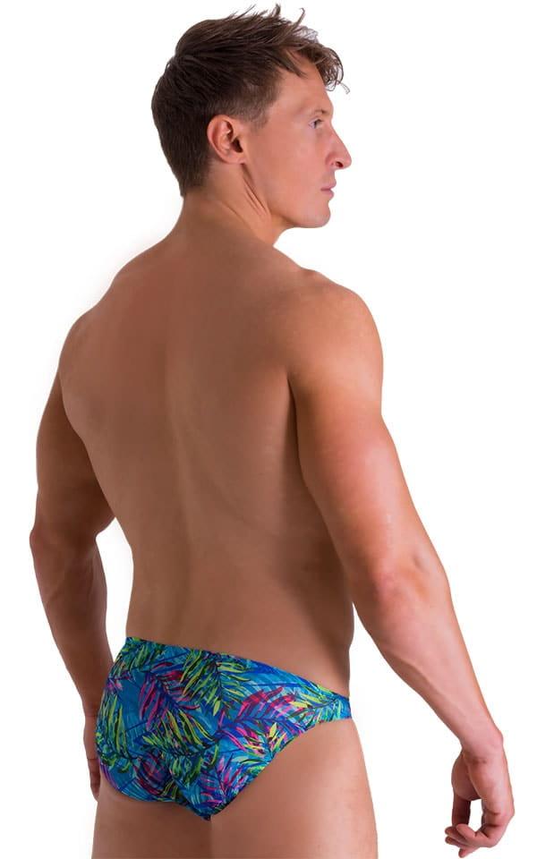 Bikini Brief Swimsuit in Tan Through Neon Ferns 3