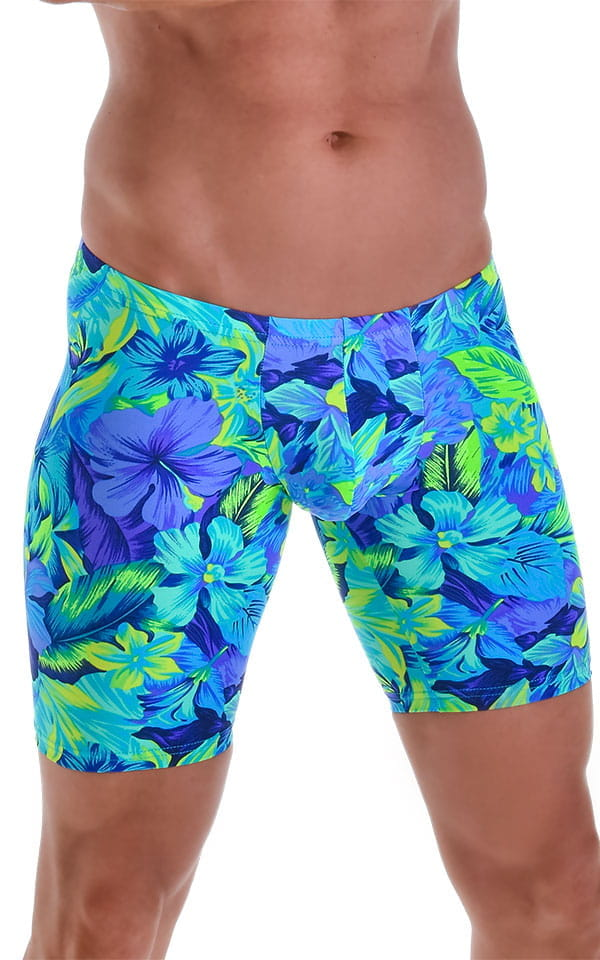 Fitted Pouch Lycra Shorts in Tan Through Tropical Rainforest 4