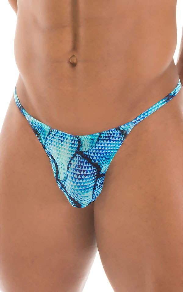 Smooth Pouch Skinny Sides Swim Thong in Tan Through Parrotfish 4