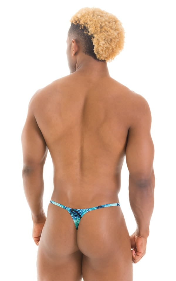 Smooth Pouch Skinny Sides Swim Thong in Tan Through Parrotfish 3