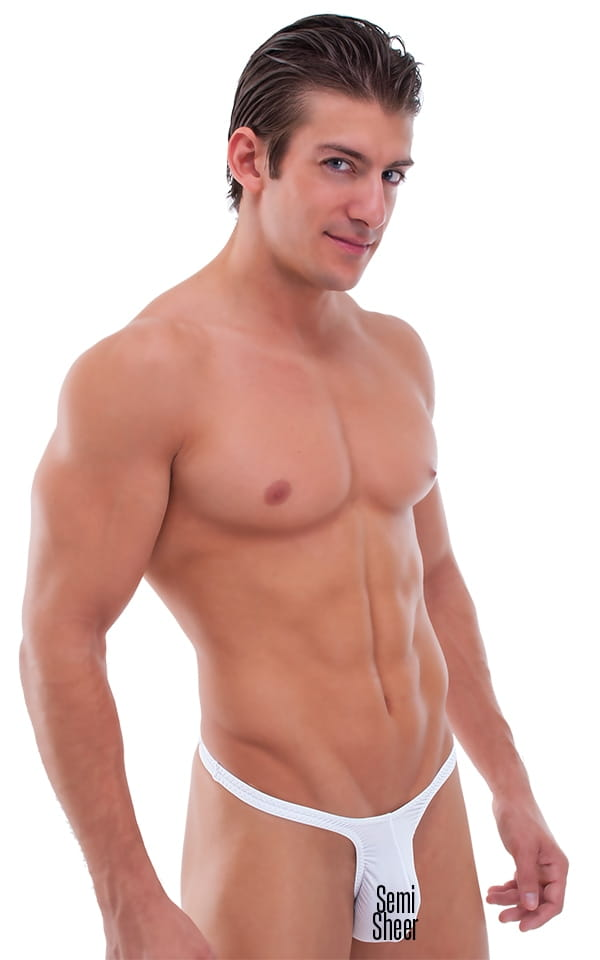 mens see-thru white thong swimsuit
