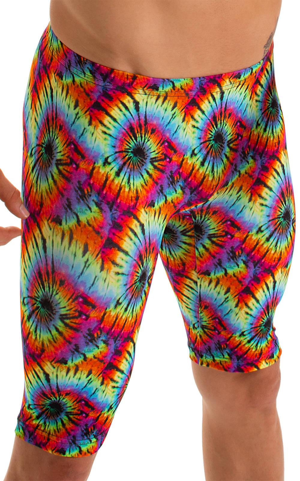 Lycra Bike Length Shorts in Classic Tie Dye 3