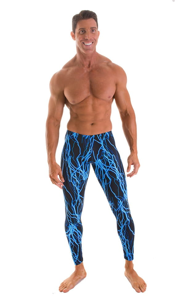 Mens Low Rise Leggings Tights in Laser Blue Lightning 1