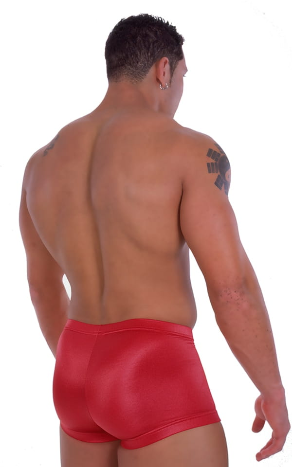 Fitted Pouch - Square Cut - Watersports Swim Trunks in Wet Look Red 3