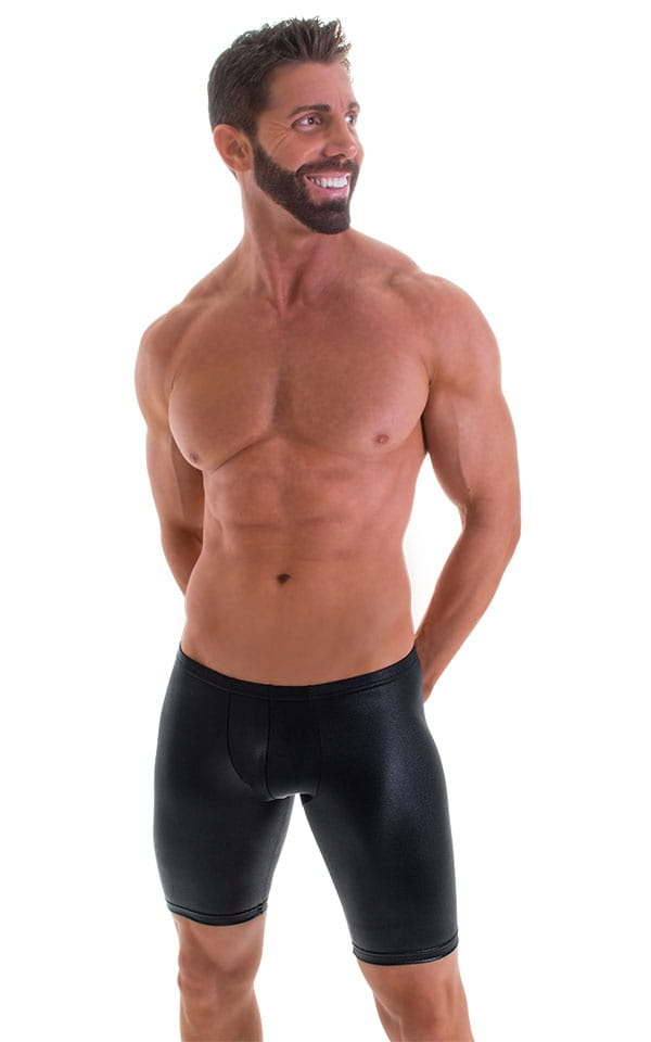 Fitted Pouch Lycra Shorts in Wet Look Black 4