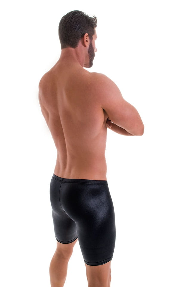 Fitted Pouch Lycra Shorts in Wet Look Black  e607ee5c42e5