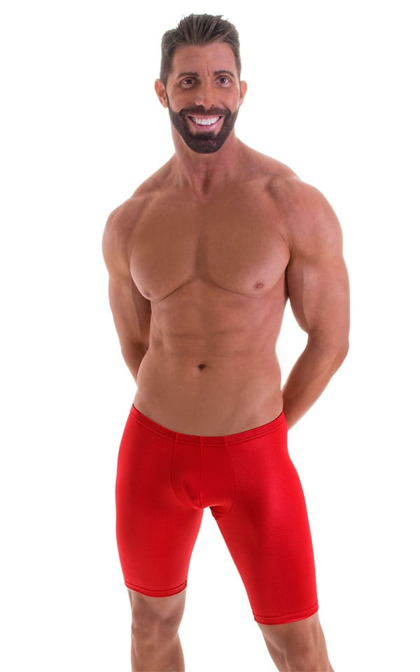 Fitted Pouch Lycra Shorts in Wet Look Lipstick Red 4