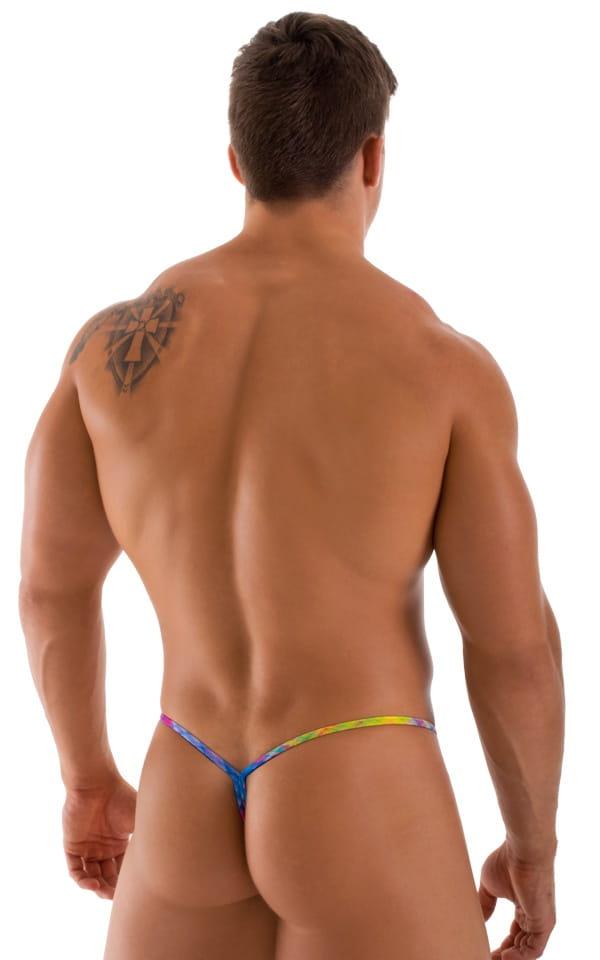 Y Back G String Swim Thong in ThinSkinz Diagonal Plaid 3
