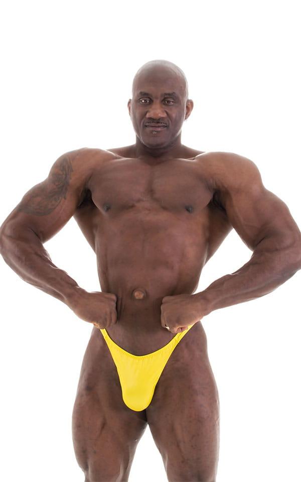 Bodybuilder Posing Suit - Narrow Back in Wet Look Yellow 6
