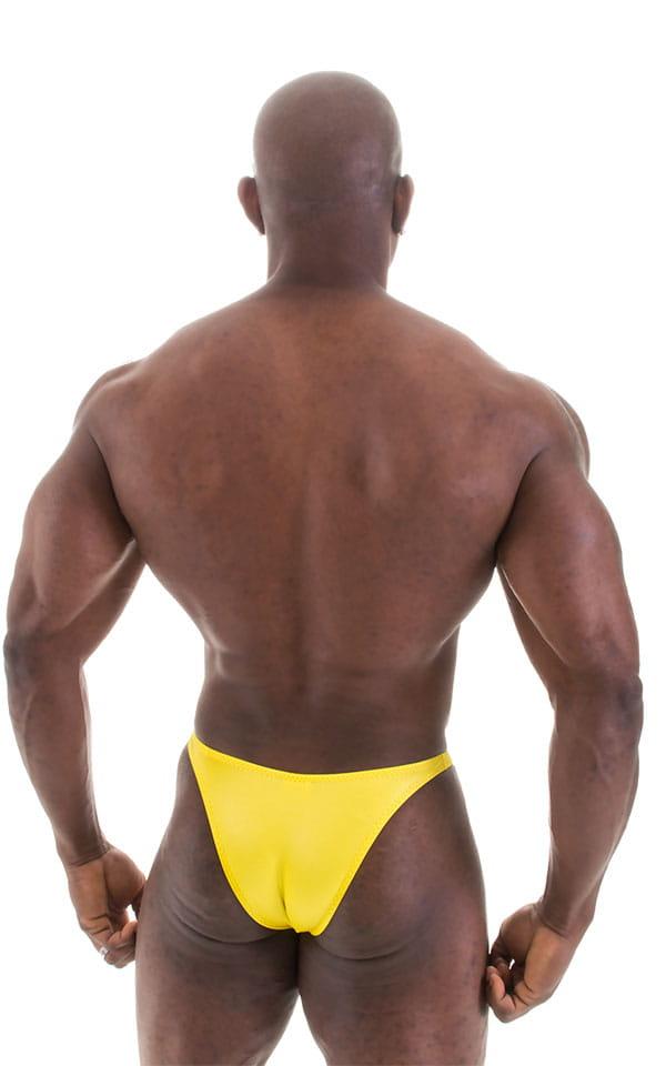 Bodybuilder Posing Suit - Narrow Back in Wet Look Yellow 5