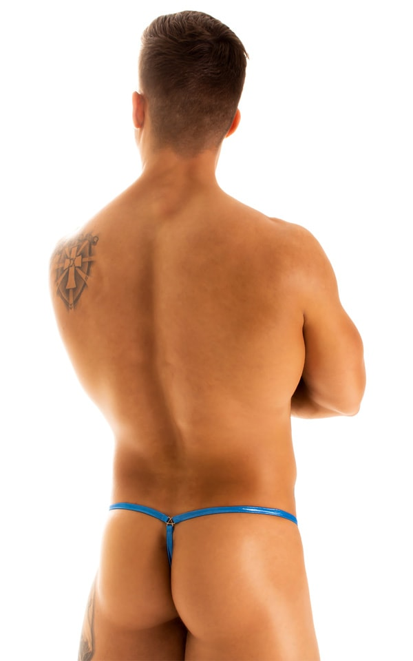G String Swimsuit - Adjustable Pouch in Ice Karma Electric Blue  2
