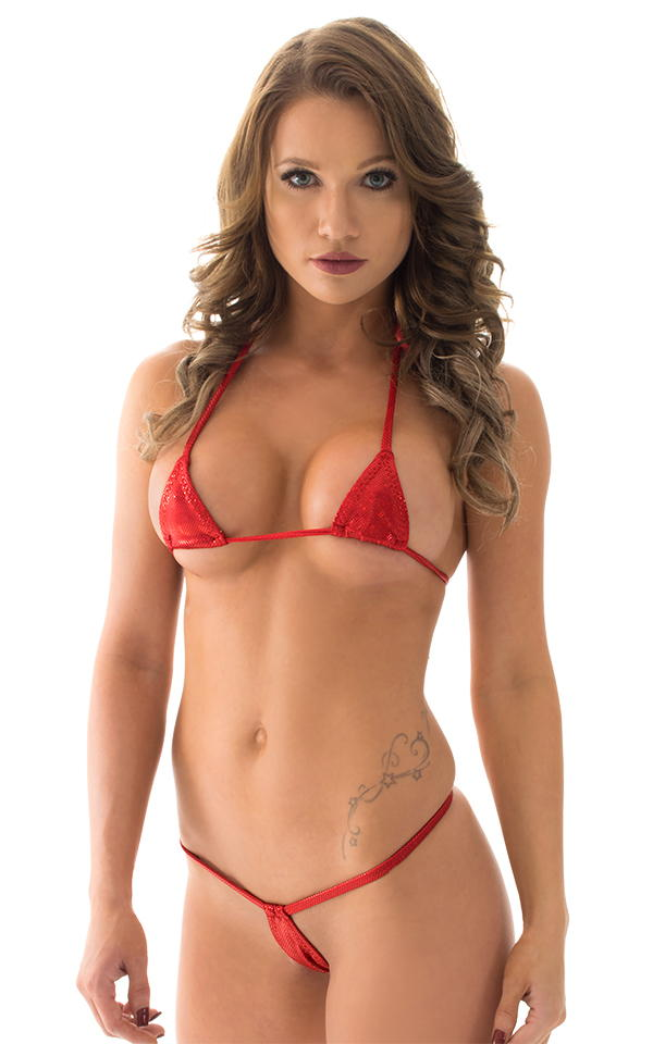 Teardrop G String Micro Bikini in Holographic Red 1