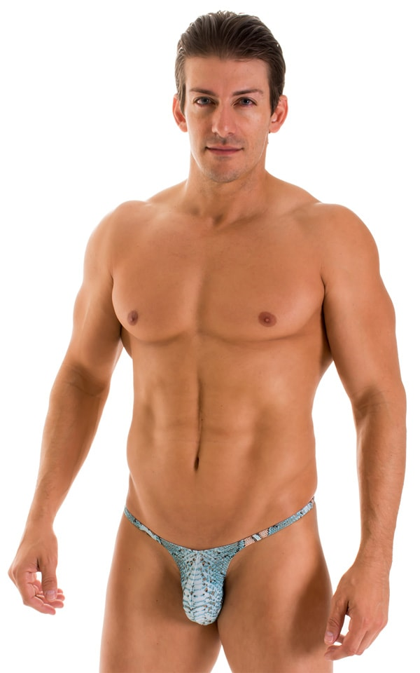 Sunseeker Micro Pouch Half Back Bikini in Super ThinSKINZ Aqua Python 2