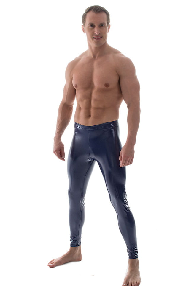 Mens Leggings Tights in Gloss Indigo Stretch Vinyl 1