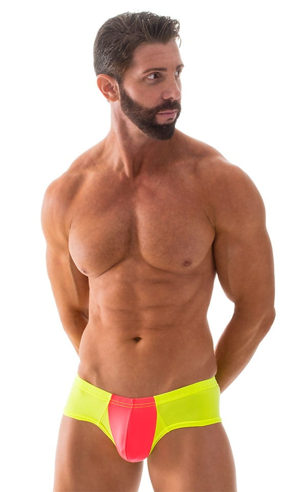 Pouch Enhanced Micro Square Cut Swim Trunks in ThinSKINZ Coral and Chartreuse 4