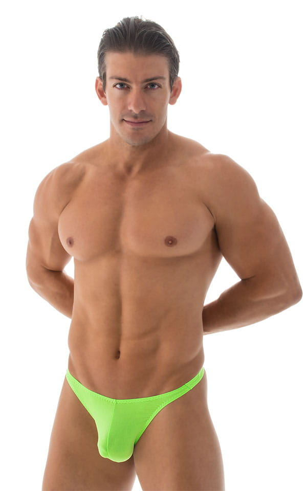 T Back Thong Swimsuit in ThinSkinz Neon Lime 1