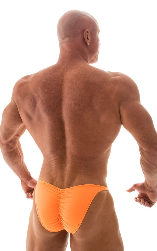 Fitted Pouch - Puckered Back - Posing Suit in Neon Orange 3