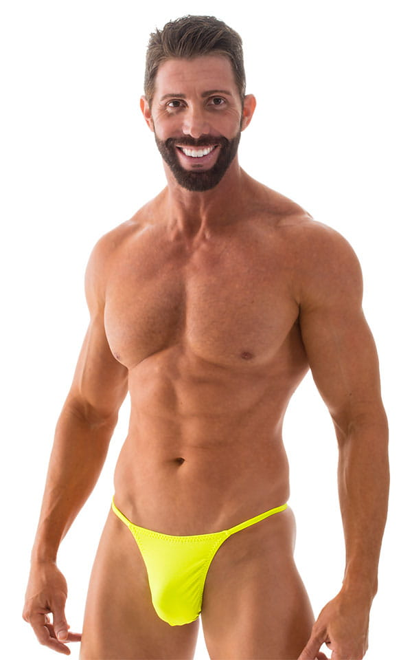 Smooth Pouch Skinny Sides Swim Thong in Chartreuse 1