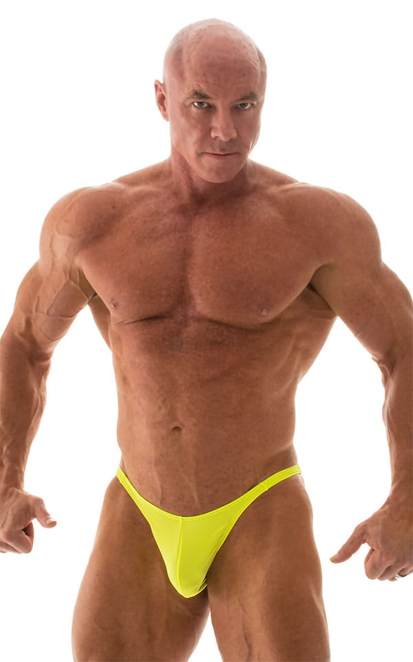 Fitted Pouch - Puckered Back - Posing Suit in Neon Chartreuse 4