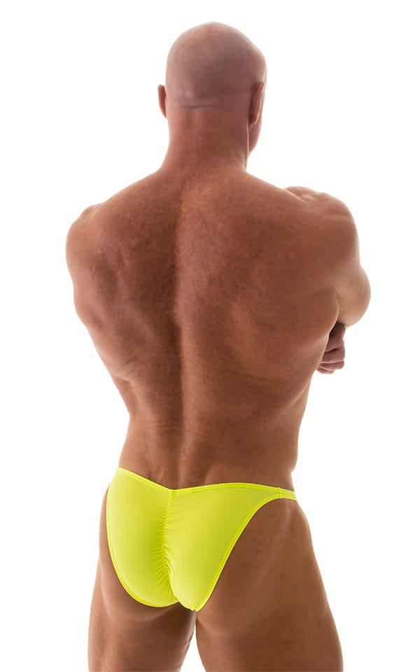 Fitted Pouch - Puckered Back - Posing Suit in Neon Chartreuse 3