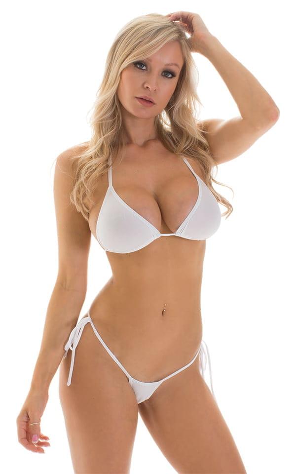 Micro G String Side Tie Bikini in Super ThinSKINZ White 1