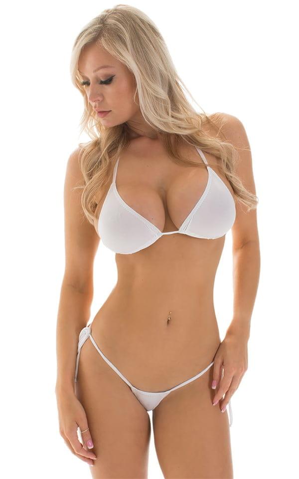Micro G String Side Tie Bikini in Super ThinSKINZ White 3