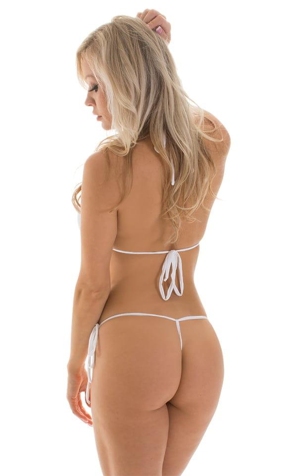 Micro G String Side Tie Bikini in Super ThinSKINZ White 2