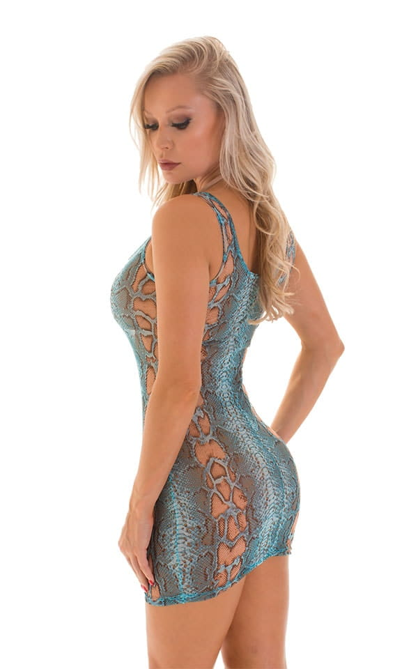 Micro Mini Dress in Aqua Python Print on Mesh 2
