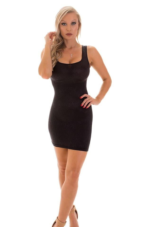 Micro Mini Dress in Black Snakeskin Lace 3