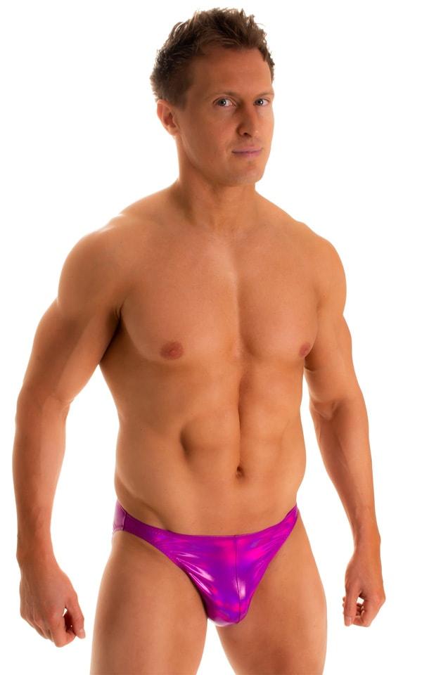Bikini-Brief Swimsuit in Holographic Liquid Fuschia 4
