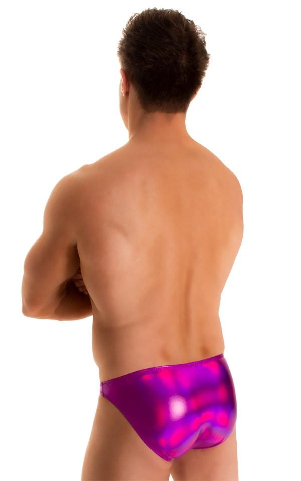 Bikini-Brief Swimsuit in Holographic Liquid Fuschia 2