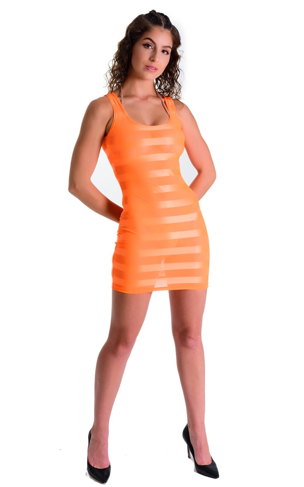 Mini Dress in Orange Satin Stripe 3