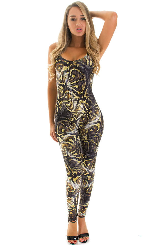 CamiCat-Catsuit-Bodysuit in Super ThinSKINZ Giant Python 1