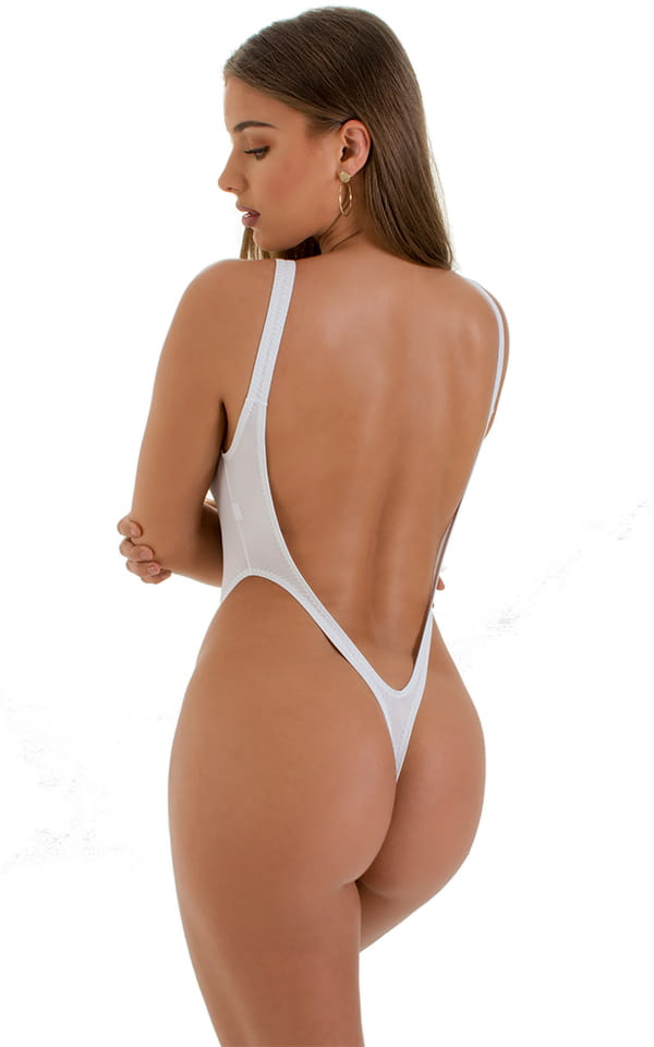 One Piece Thong Swimsuit in Super ThinSKINZ White 4