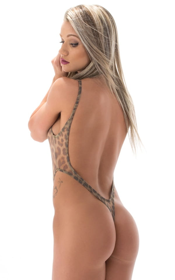 womens one piece sheer one piece animal print thong rear