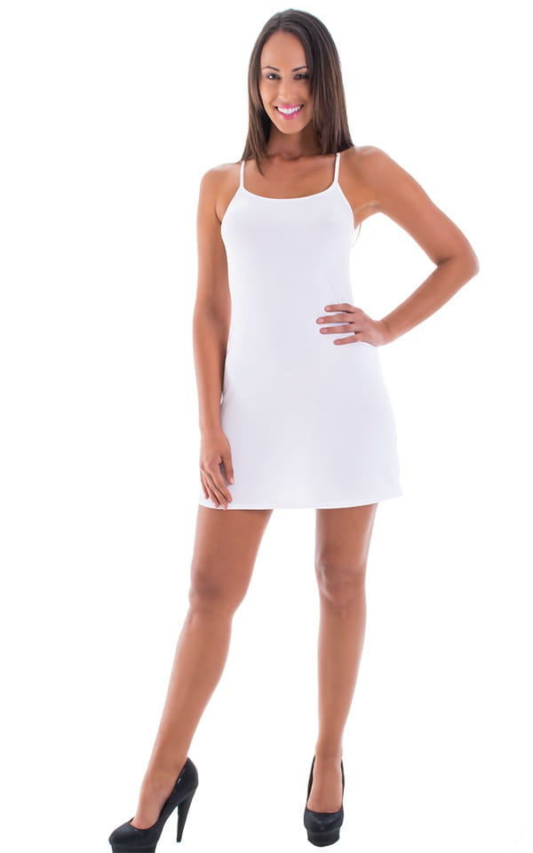 Beach Cover Up Flare Mini Dress in Semi Sheer ThinSKINZ White 4