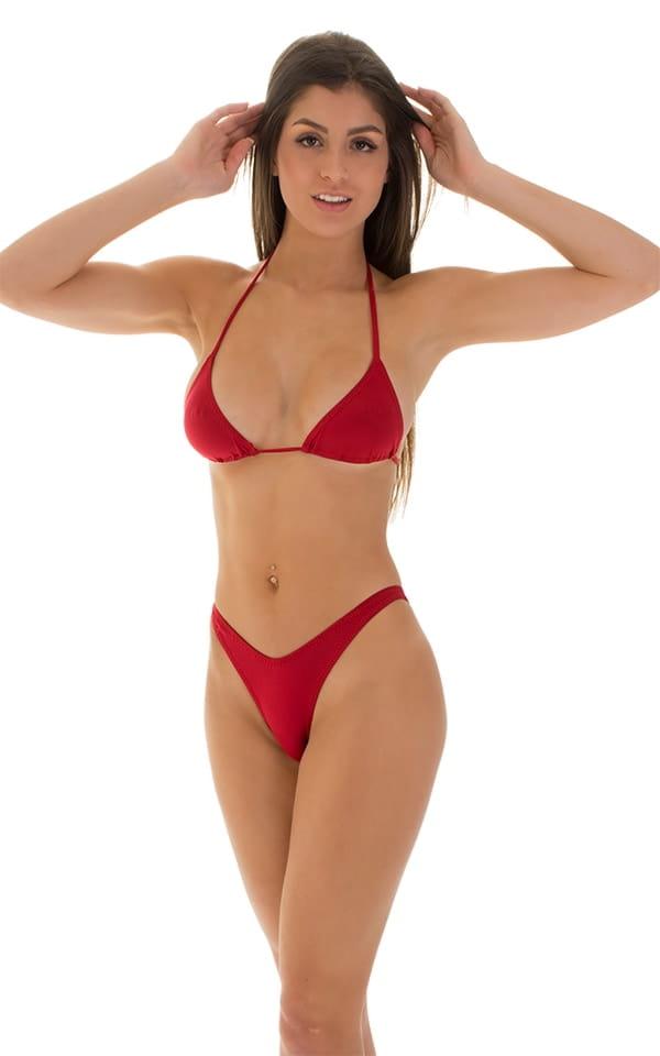 High Cut Brazilian Bikini bottom in ThinSKINZ Red 4