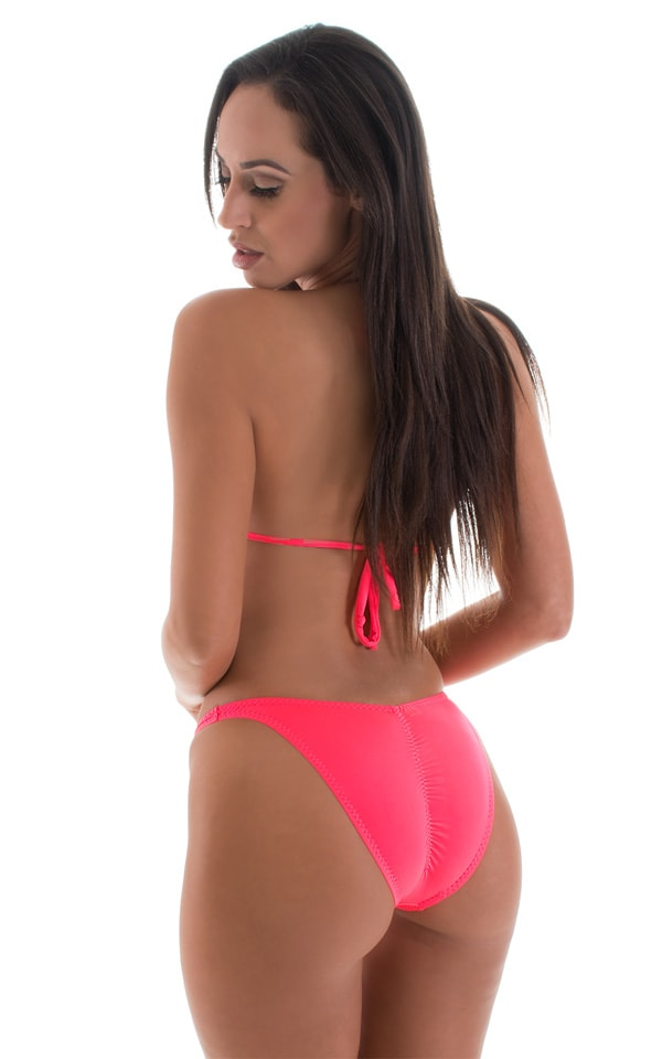 High Cut Brazilian Scrunchie Bottom in ThinSKINZ Neon Coral 3
