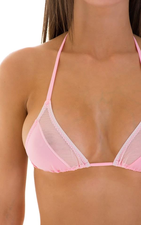 2 Panel Triangle Swim Top in Barbie Pink & Pink Mesh 5