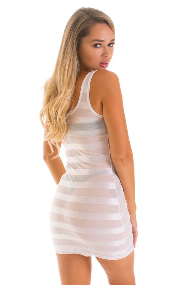 Micro Mini Dress in White Satin Stripe on Mesh 2